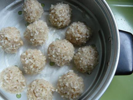 Chinese steamed pearl balls. Zhenzhou qiu. Like grandma used to make.