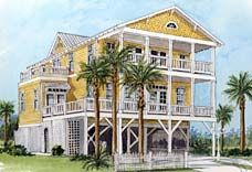 House plans nice and beach house plans on pinterest for Raised waterfront house plans