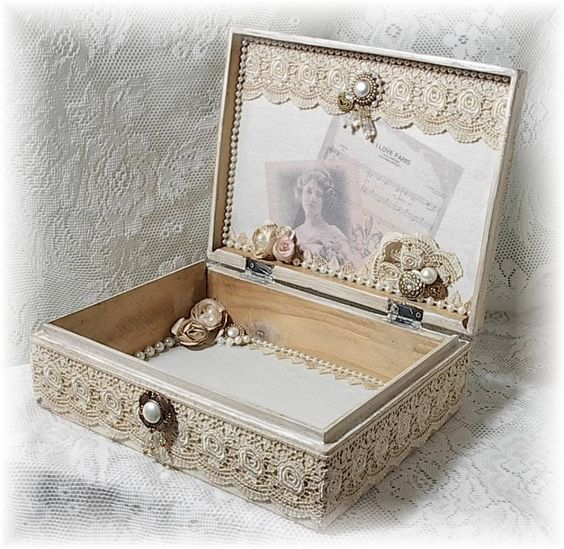Image detail for shabby vintage french chic altered art for Boite shabby chic