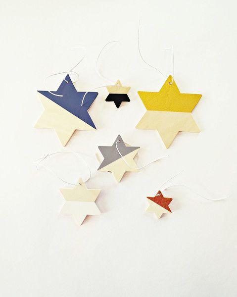 6Dip-Dye Holzsterne Sterne,Baumschmuck,Baumhänger von Ahoj-2012 auf DaWanda.com