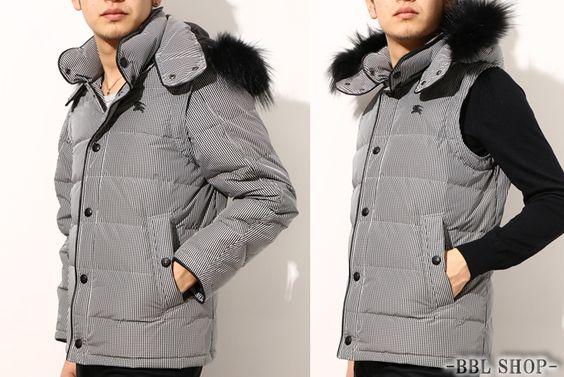 2WAYギンガムダウンジャケット 黒×白系 メンズ バーバリーブラックレーベル 15978 14ws - 【全品ポイント5倍】バーバリー専門通販サイト BBL SHOP