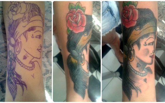 Cobertura feita com uma garota old school. A fila andou... #tattoo #coverup #oldschool #girl #prettygirl