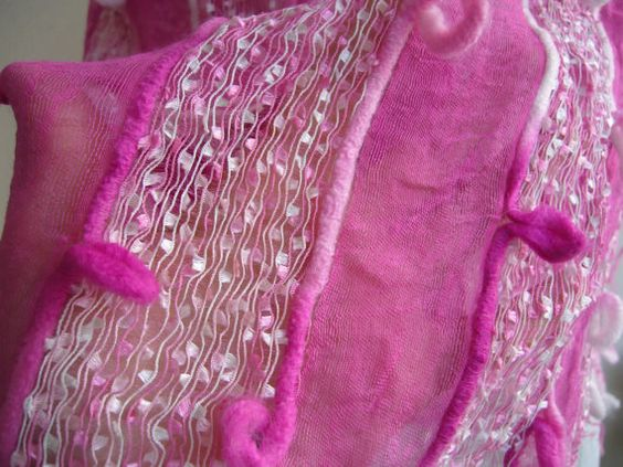 Pİnk shawl ethnic/woven shawl ethnic/fiber art scarf by woolwarm