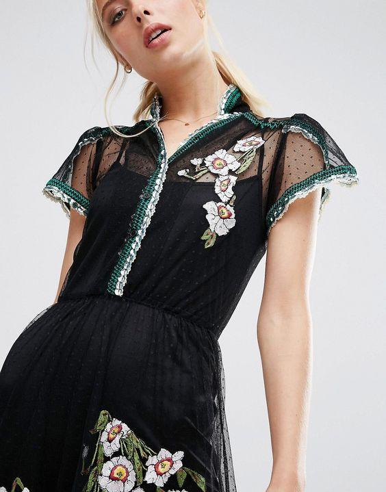 Imagen 3 de Vestido de malla con bordado de lunares y ribete de lentejuelas de ASOS