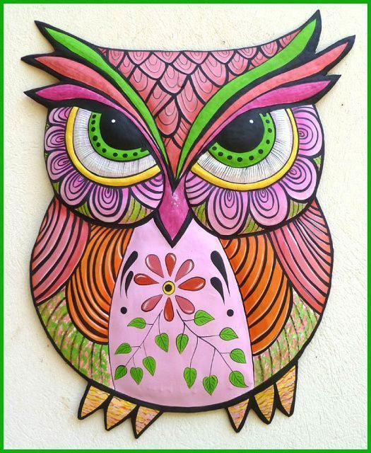 Painted Metal Owl Decorative Owl Wall Art Hand Painted Metal Wall Decor Whimsical Art Metal Art 17 X 25 Owl Wall Art Funky Art Whimsical Art