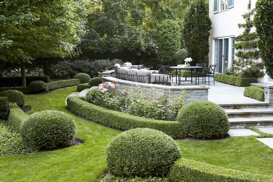 Landscaping With Boxwoods And Roses : Residential scott byron co bluestone terrace framed