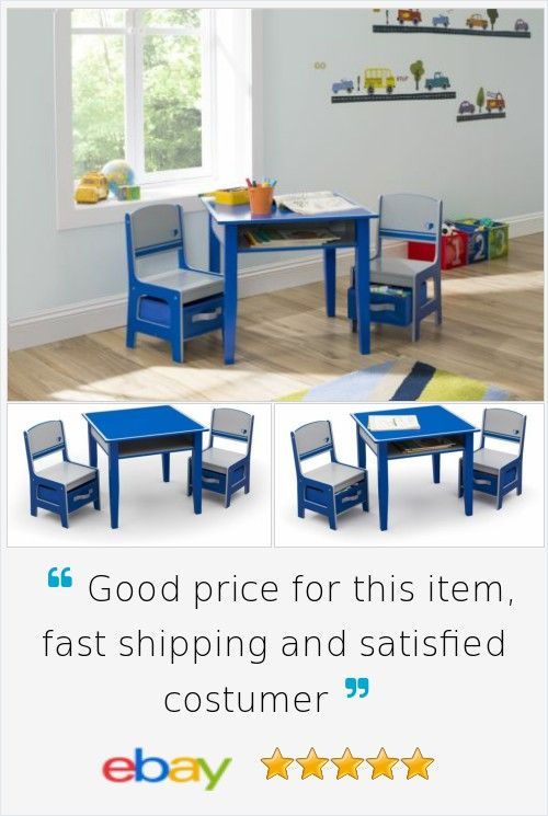 Table And Chair Set #Kids Room Storage #Play Children Activity Toddler #Wood Blue