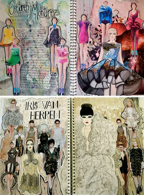 These sketchbook pages are the unequivocal result of effort, passion and enthusiasm. Although 'decoration' is usually unnecessary within a textile or fashion design sketchbook, in this case, the background patterning demonstrates a complete understanding of the aesthetic; a strong personal response to the colours, shapes, textures, lines and forms of the work studied.