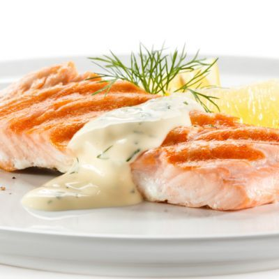 Baked Salmon with Dill Cream Sauce #easymeal #tasty