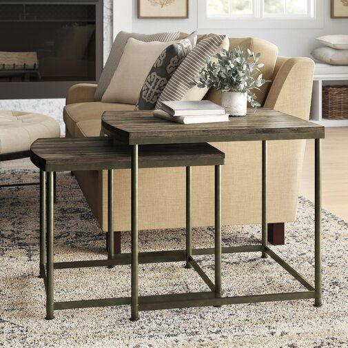 Leone 2 Piece Solid Wood Nesting Tables Wood Nesting Tables