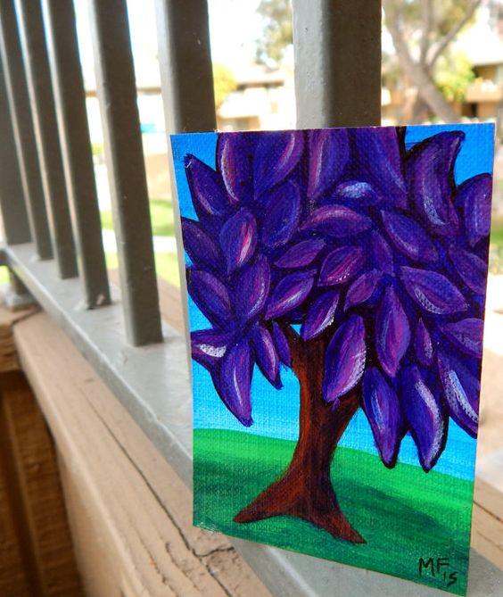 ATC  ACEO  Purple Tree Painting  Fantasy  Violet  by HeartsAndKeys