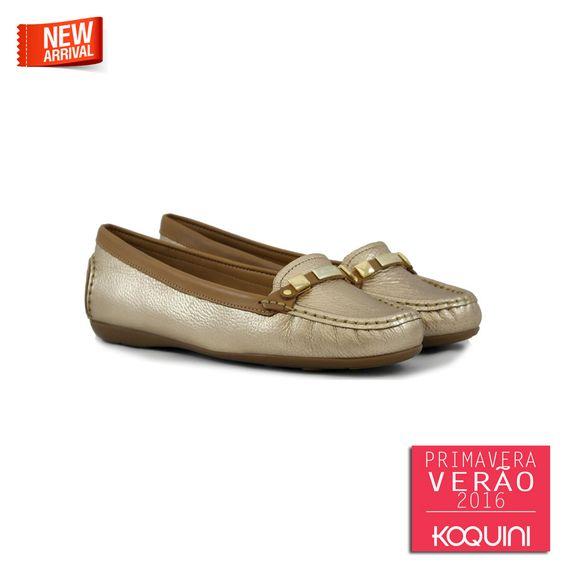 Conforto de mocassim com o fashion do dourado #koquini #sapatilhas #euquero #mocassim by #wirth Veja mais em: http://koqu.in/1F2SQmy