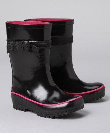 Another great find on #zulily! Black & Pink Bow Rain Boot by Pluie Pluie #zulilyfinds
