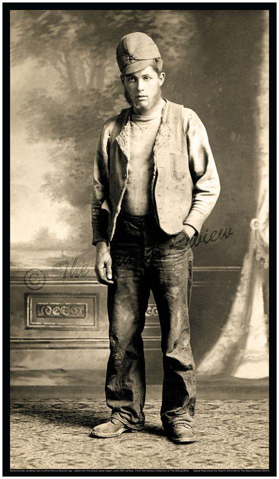 American Working Man Fashion Print - 1900-1910 Vintage Antique Levi Jeans - Levis - Earliest Stormy Kromer Cap on Etsy, $30.00: