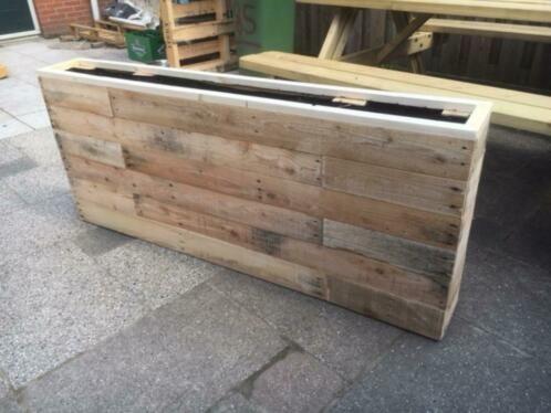 Welp Langwerpige plantenbak van mooi pallethout 150x20x70cm HN-02