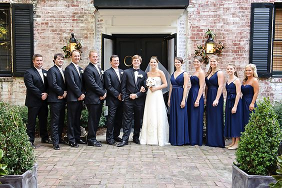 navy blue dresses + black tuxedos  | Tea Olive Photography #wedding