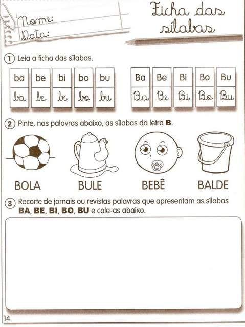 Atividades Com As Silabas Ba Be Bi Bo Bu Atividades De