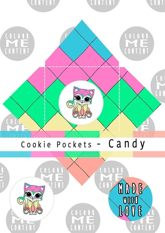 Cookie Box Pockets Candy Instant Digital Download Printable Treat Favours Birthdays Baby Showers Pattern K Cookie Box Birthday Favors Candy Bag Toppers