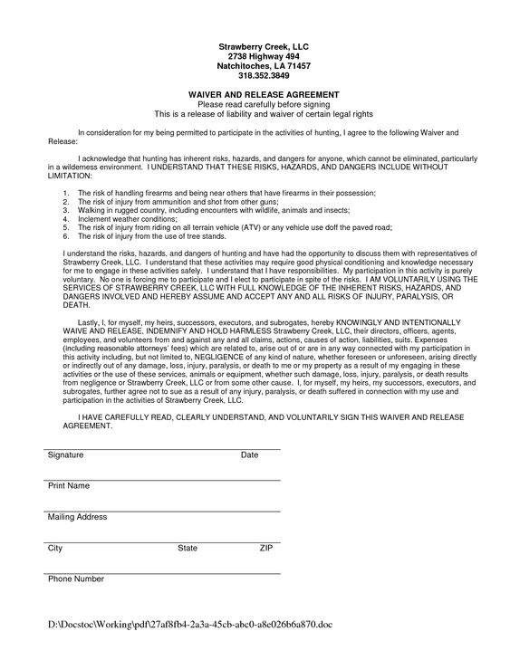 Waiver And Release Of Liability Form Sample  SwifterCo  Waiver
