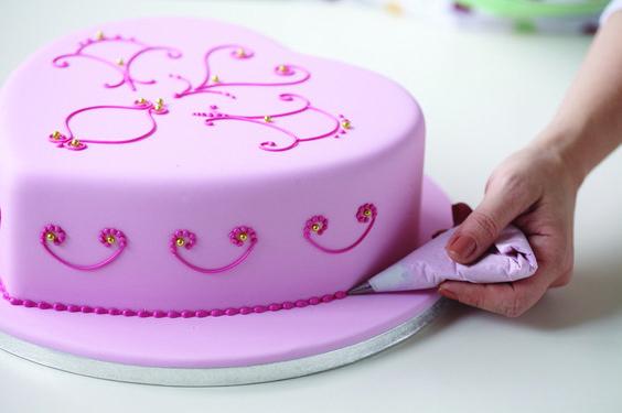 Herzkuchen, Torte, rosa