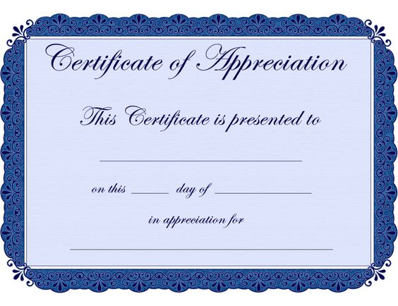 Free Printable Blank Certificate of Completion Template for - certificate of appreciation template for word