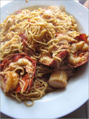 Rino's Place - Pasta with lobster scallop  [258 Saratoga St., East Boston, 617-567-7412 ; www.rinosplace.com]