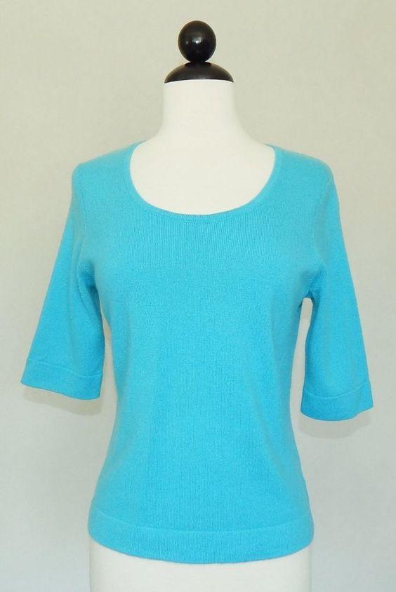 LAUREN RALPH LAUREN Turquoise Aqua Blue Scoop Neck 100% Cashmere Sweater - S #LaurenRalphLauren #ScoopNeck  ~   Buddercups.com