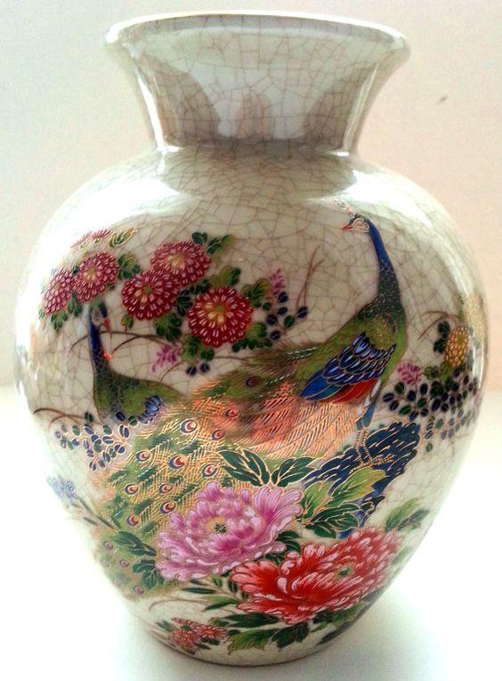 Satsuma Japanese Peacock Floral Ceramic Peony by Snowyowltreasures