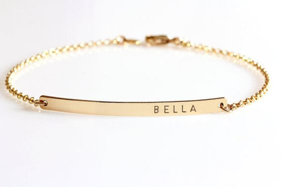 Gold Bar bracelet Engraved Roman numerals by JewelryBlues on Etsy