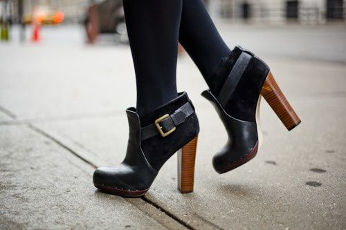 Fall must have: SKY-HIGH BOOTIE. these are insanely perfect with the wood stacked heel and buckle!