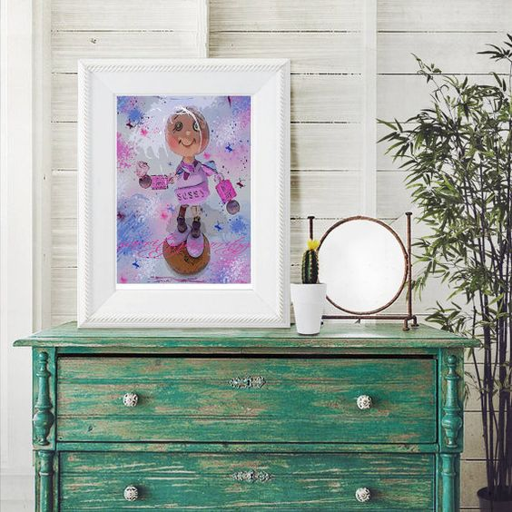Art print mod polymer clay image you print wall by OldOwlPress