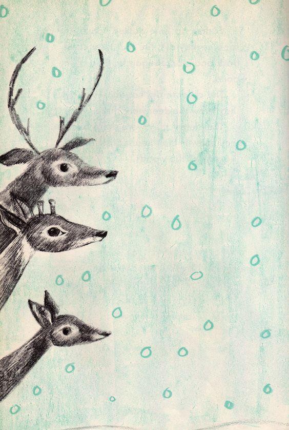 Deer in the Snow by Miriam Schlein, illustrated by Leonard Kessler (1950s).