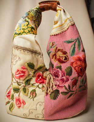 gorgeous tote using vintage fabrics