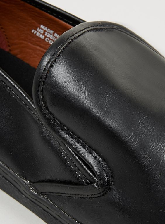 'VERDY' BLACK LEATHER-LOOK SLIP-ON SHOES