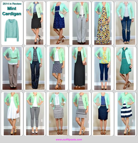 Outfit Posts: 2014 in review - outfit posts: mint cardigan - 17 ways