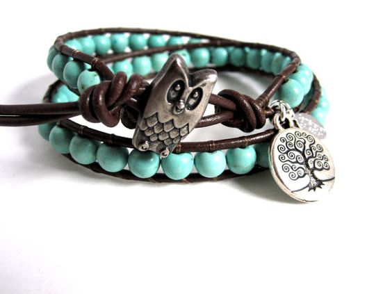 Owl Turquoise and Greek Brown Leather with by CamBrayahCollection, $45.00