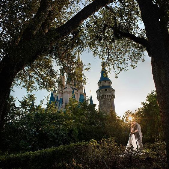 WEBSTA @ disneyweddings - Florida sunrise   Cinderella Castle   a beautiful couple = the perfect Saturday morning. Congratulations, Jayne and Christopher!  Ali, Disney Fine Art Photography#sunrise #castle #wedding