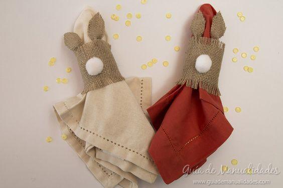 Conejos servilleros con cart n y arpillera diy y manualidades y bricolaje - Manualidades y bricolaje ...