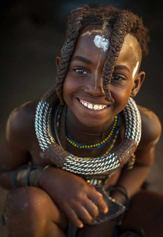 Africa | Young Himba girl, with traditional hairstyle. Epupa, Namibia  | ©Eric Lafforgue