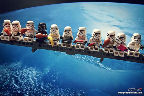 Stormtroopers and Vader taking a break hovering over a planet