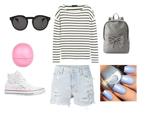 """""""School"""" by fearlesscy on Polyvore featuring Ksubi, J.Crew, Converse, Candie's, Eos and Illesteva"""