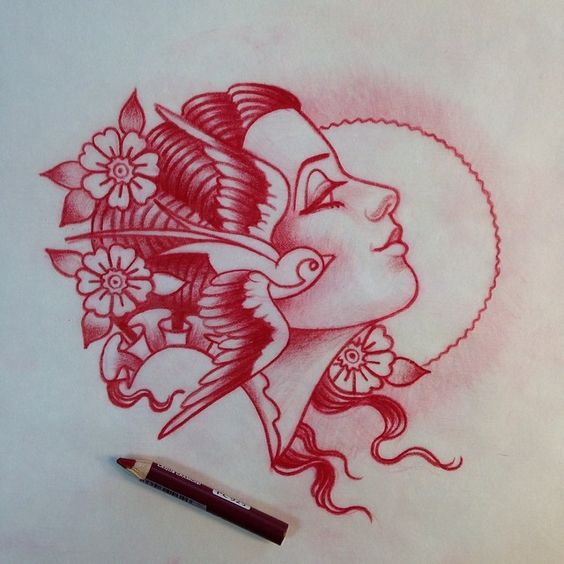 American Traditional woman tattoo.
