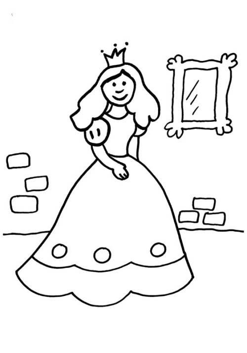 Prinzessin Prinzessin Vor Dem Spiegel Zum Ausmalen Ritter Kostum Kind Ausmalen Ausmalbilder Fasching