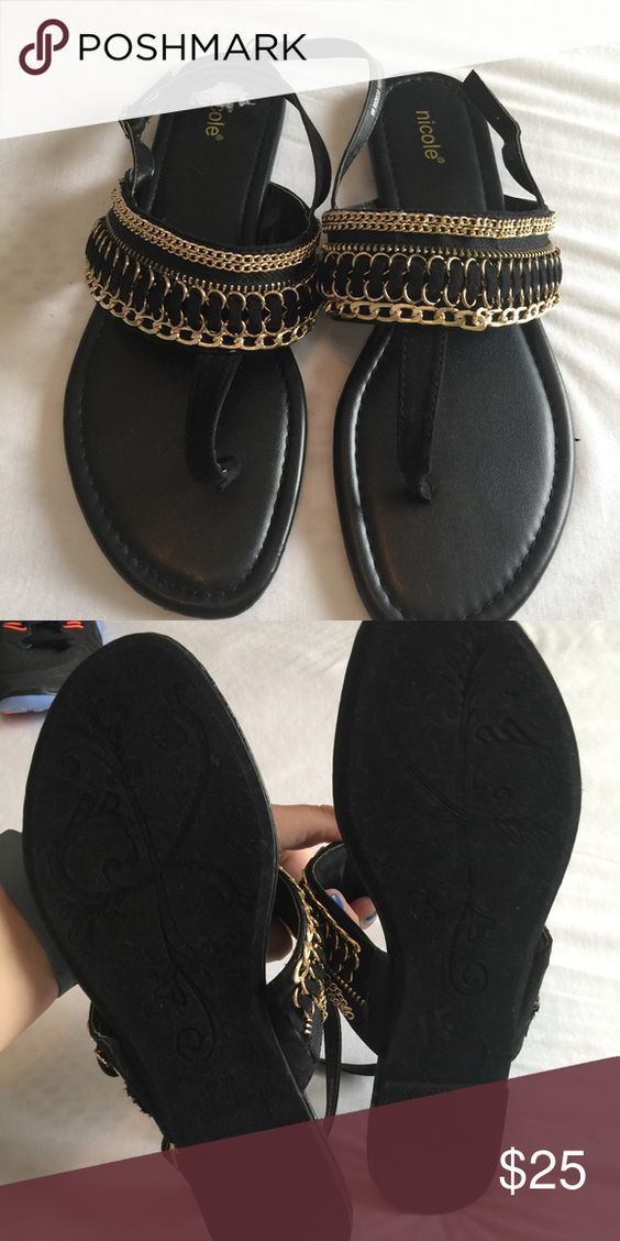 NWOT Black and Gold Sandals NWOT Black and Gold Sandals Nicole Shoes Sandals