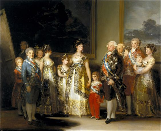 The Family of Charles IV, 1800 by Francisco Goya. He was the official painter of King Charles IV.  To preserve the royal bloodline, royal families would marry close relatives, like cousins, and in this picture, you can see some of the physical deformities caused by inbreeding.
