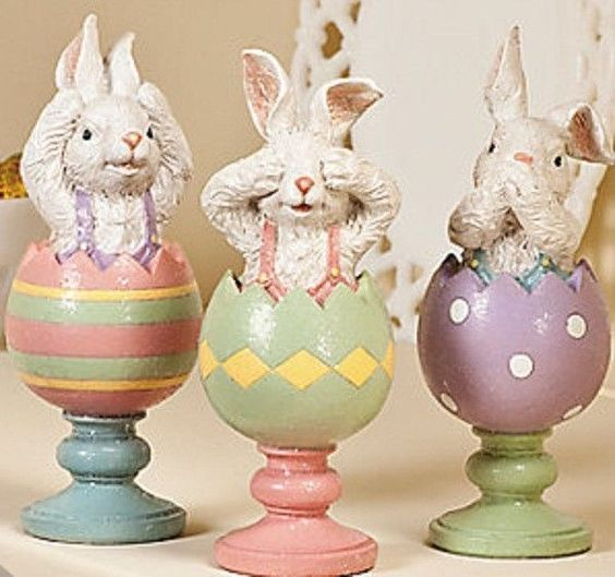 3 Easter Bunny Sculptures Holiday & Seasonal Spring Home Decor ***