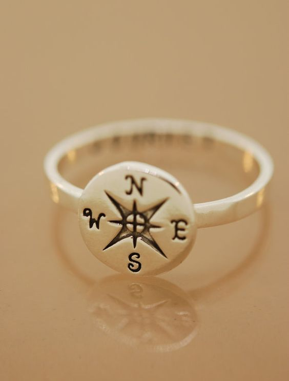 compass ring: Jewelry Accessories, Simple Compass Tattoo, True North, Compass Rose, Cute Ring