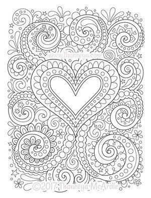 Abstract Heart Coloring Page By Thaneeya Mcardle With Images Heart Coloring Pages Love Coloring Pages Coloring Books