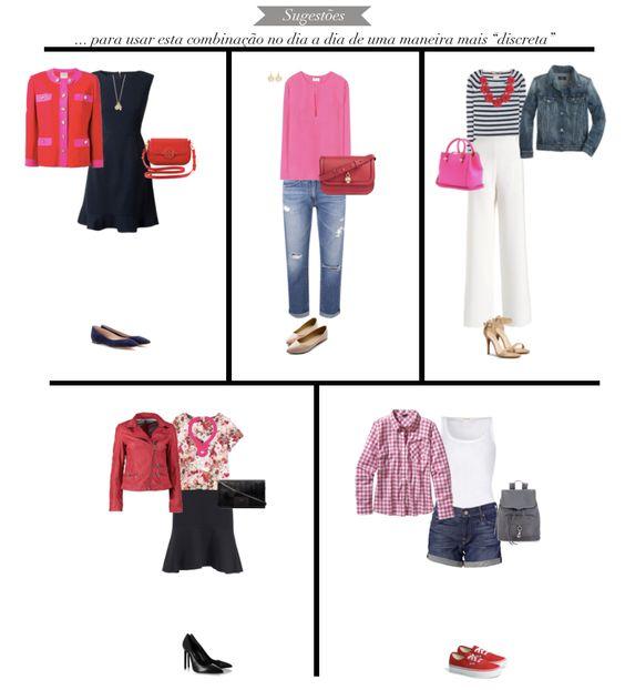 color moodboard / red and pink / pattern / color combination / combinação de cores / pink / red / colours / colored / mood / style board / outfits / produções / roupas / looks / vermelho e rosa / inspiração / get inspired / blog / fashion tips / stylish combination