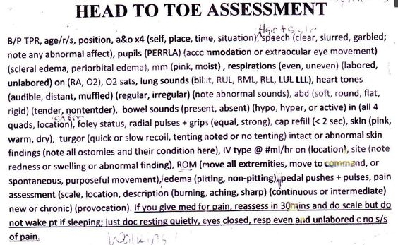 RN Head to Toe Assessment NURSING Pinterest Nursing - nursing assessment form